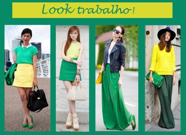 look verde e amarelo formal