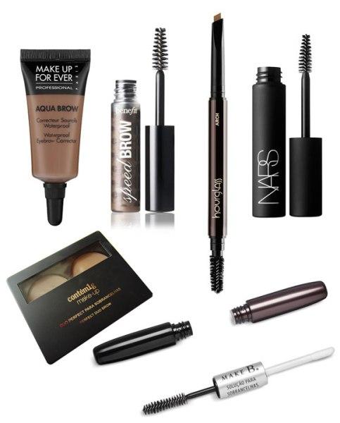 Sugestões de produtos de maquiagem para sobrancelha