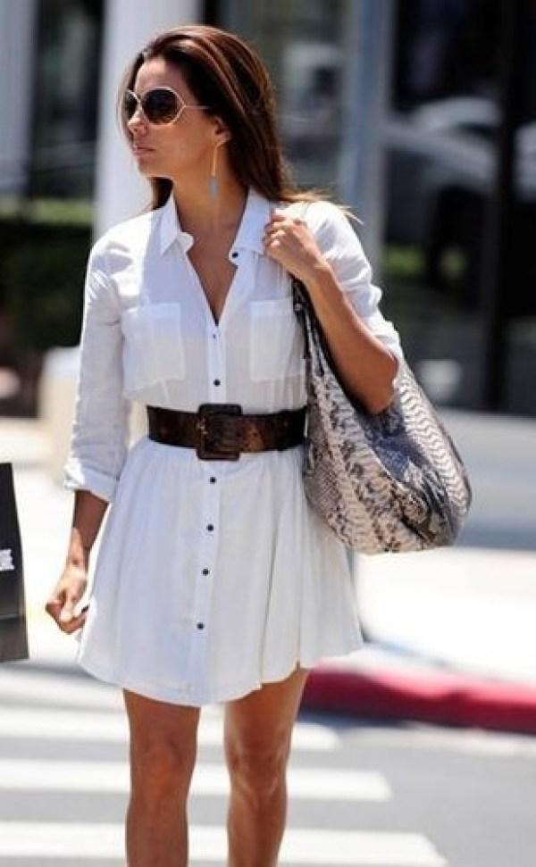 Shirtdress branco com decote e botões