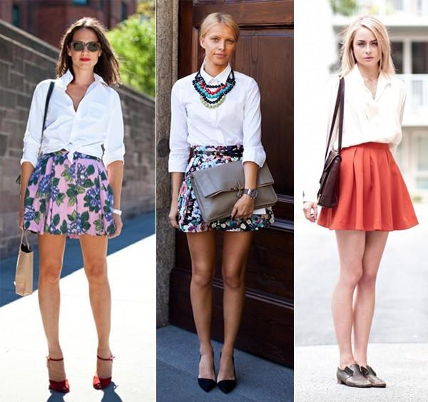 Camisa branca + mini saia