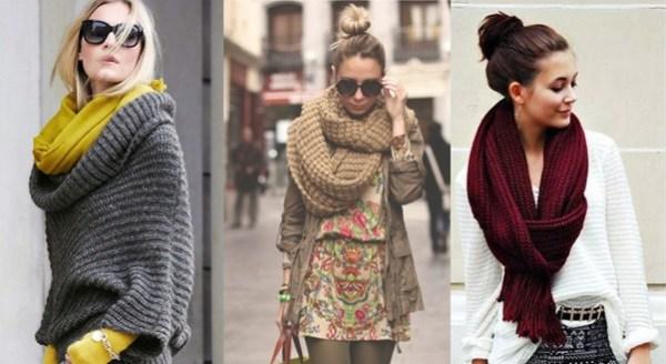 Cachecóis e lenços são acessórios da moda outono e inverno