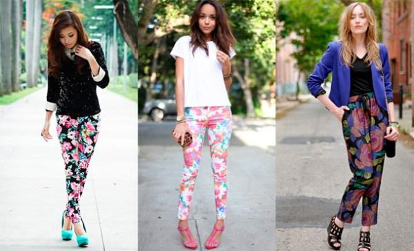 Calças coloridas ou estampadas