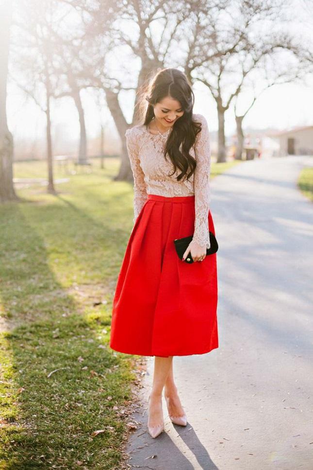 Look-romantico-com-saia-vermelha