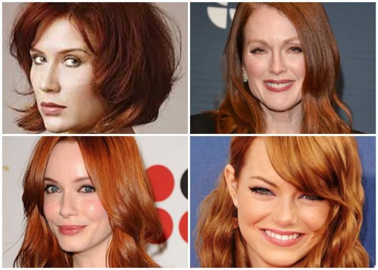 foto de mulheres com o cabelo ruivo acobreado em diversos tons