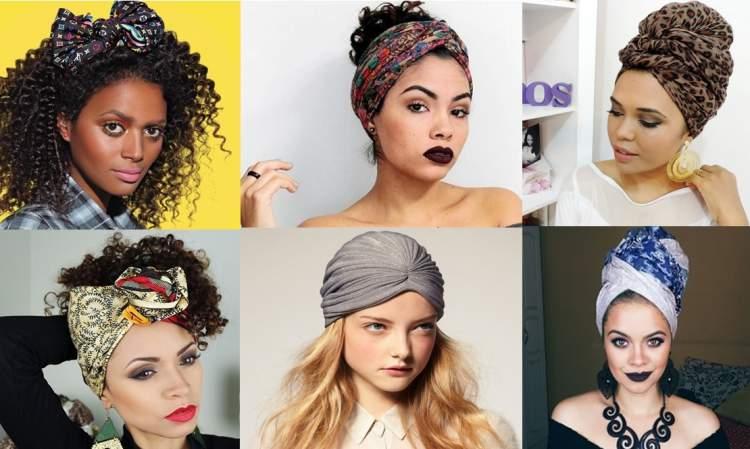 lenços e turbantes para cabelos cacheados