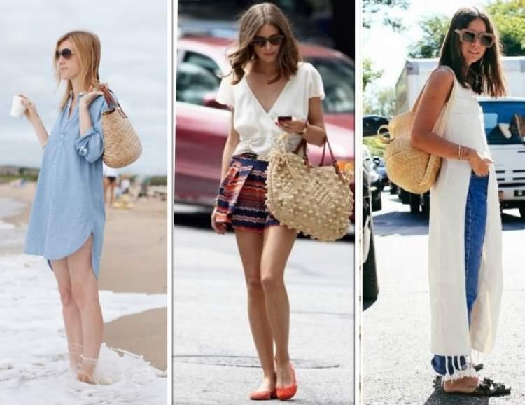 mulheres usando bolsas de palha