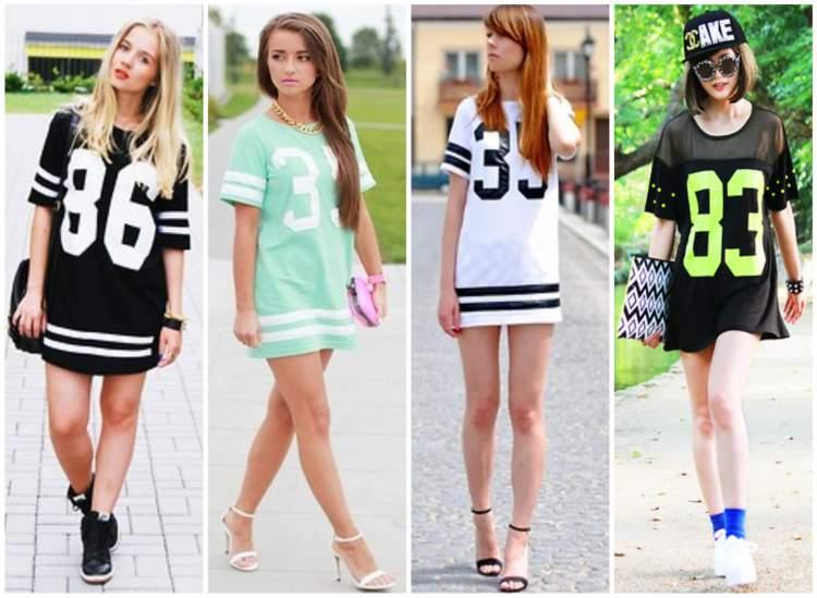 Look fashionista com camiseta esportiva usada como vestido