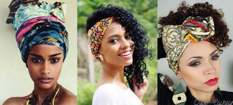 Penteados com lenço para cabelos cacheados e curtos