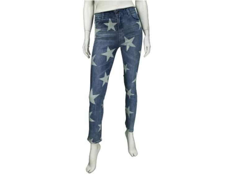 Calça Jeans com desenhos de estrelas