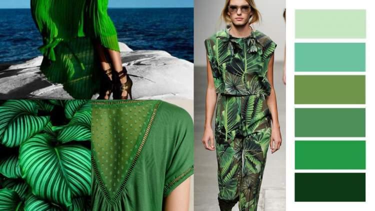 Estampas com elementos da natureza em verde está entre as tendências da moda outono inverno 2018