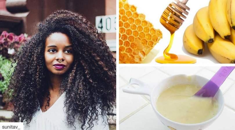 Receita caseira de mel e banana para hidratação de cabelos afros
