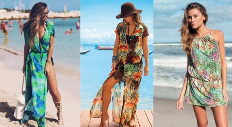 Estampas com inspiração na natureza para saídas de praia é uma das tendências da moda praia verão 2018