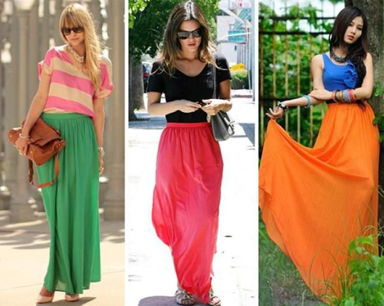 Saia longa fluida colorida entre as tendências da moda evangélica 2018 que você vai querer usar