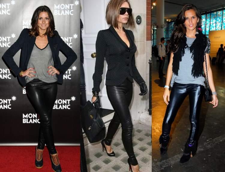 Calça de couro fica muito bem em mulheres altas e magras