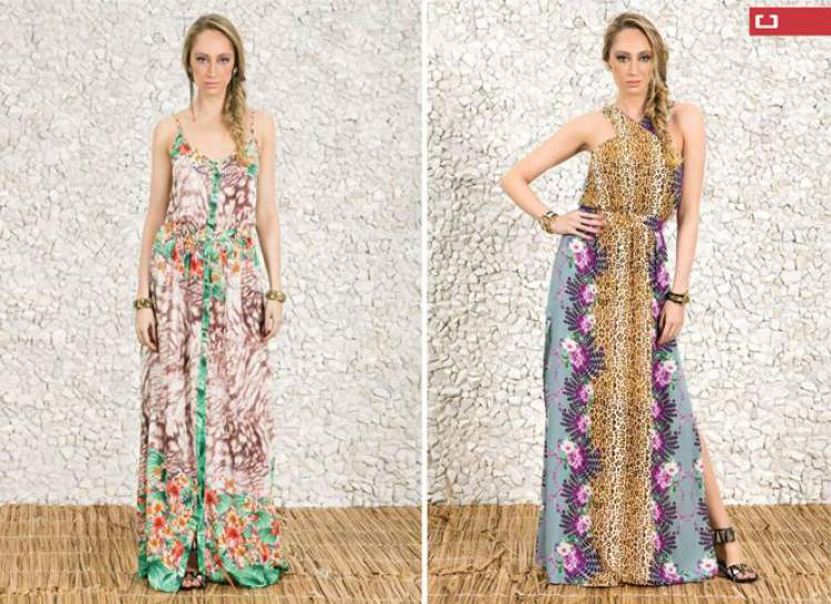 Looks para mulheres altas e magras com vestidos estampados