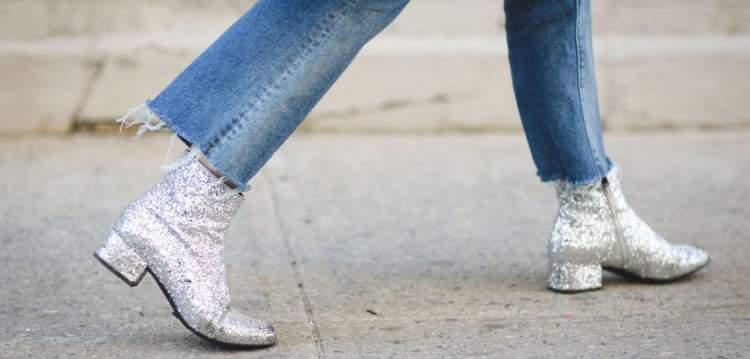 Botas de glitter é uma aposta do inverno 2018