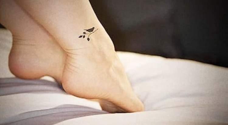 Tatuagem delicada no tornozelo de pássaro com ramo de oliveira