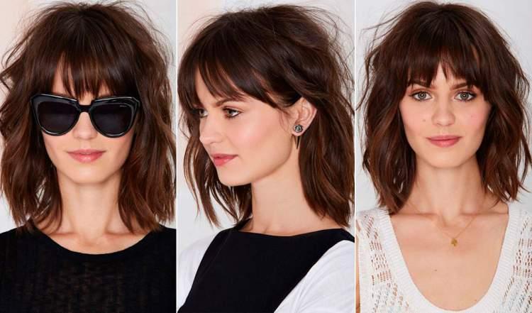 Repicado com franja é uma das ideias de cortes de cabelo médio