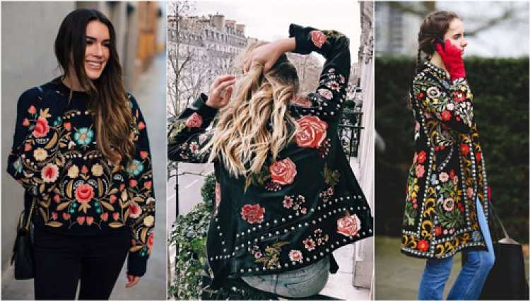 Bordados nos looks mais lindos da moda inverno 2018