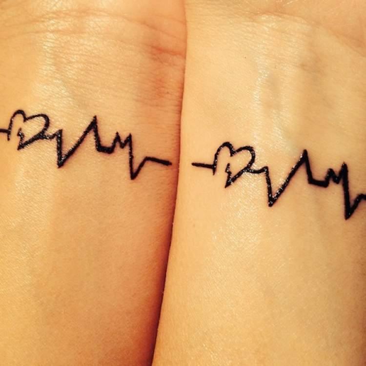 Tatuagem Mãe e Filha: Batimos do coração que se completam