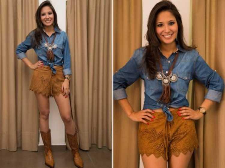 Blusa jeans com saia em tons terrosos