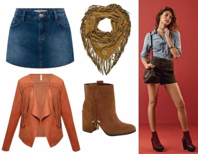 Look de festa junina com Tons terrosos + jeans