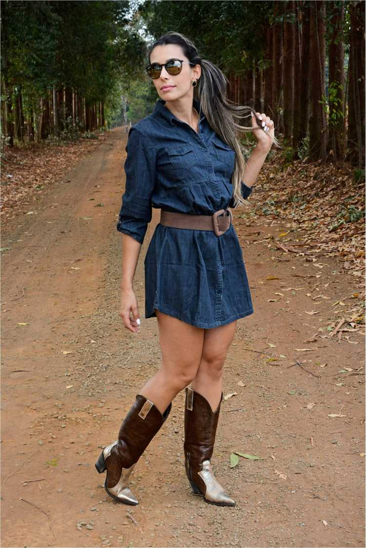 Look com vestido jeans