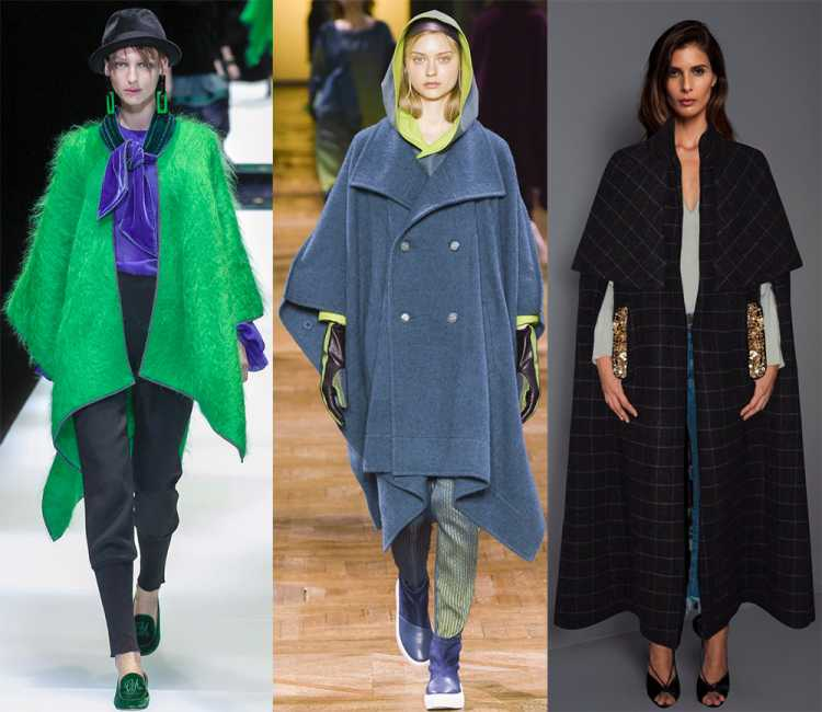 Tendências da moda inverno 2019: Casaco poncho - Foto de Giorgio Armani, Issey Miyake, Johanna Ortiz