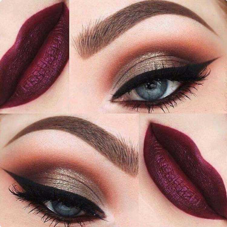 Olhos dourados com boca vinho é uma das maquiagens lacradoras para o Réveillon