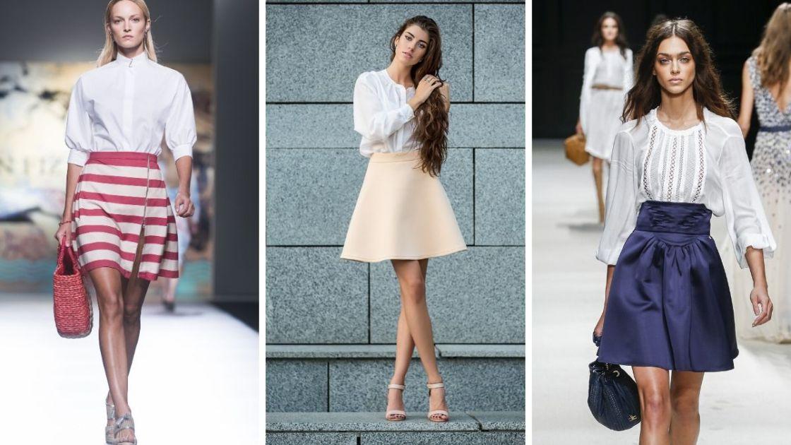 Ideias de looks com saia e camisa branca