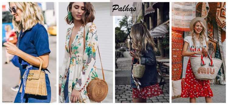 Bolsa de palha com looks leves é uma das inspirações de look estiloso e fresco para o verão 2019