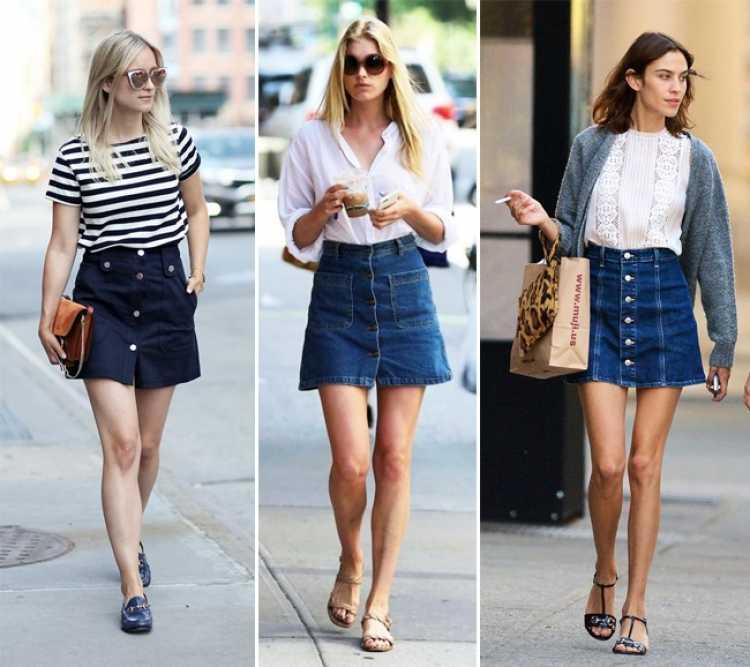 Saia com botões frontais e camiseta é uma das inspirações de look estiloso e fresco para o verão 2019