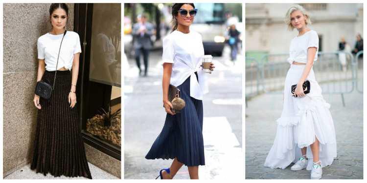 Saia longa com camiseta branca é uma das inspirações de look estiloso e fresco para o verão 2019