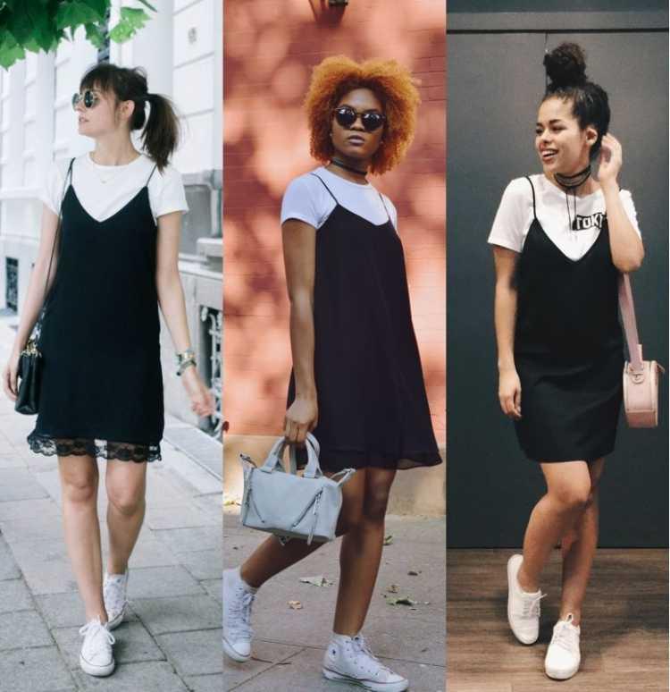 Sobreposição de vestido de alcinha com camiseta branca é uma das inspirações de look estiloso e fresco para o verão 2019