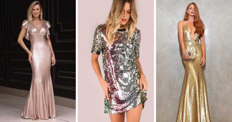Vestidos com paetês é uma das tendências para madrinhas e formandas em 2019