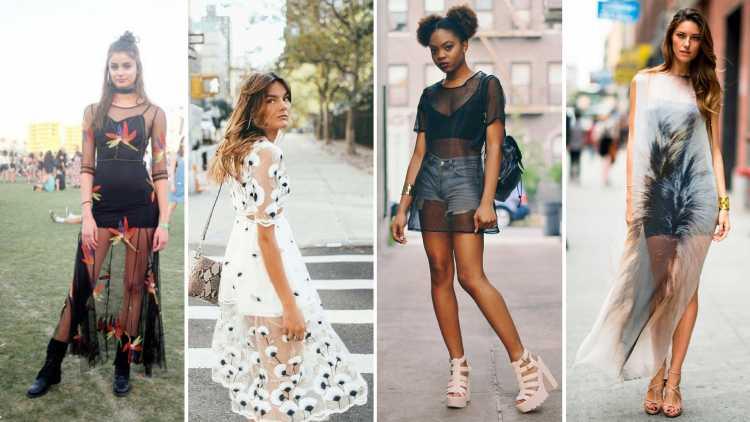 Vestidos transparentes é uma das tendências de transparência no verão 2019