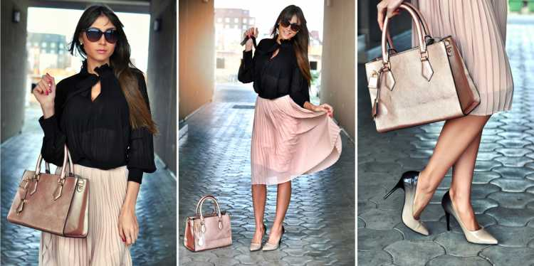 camisa Social Feminina com saia plissada rosa