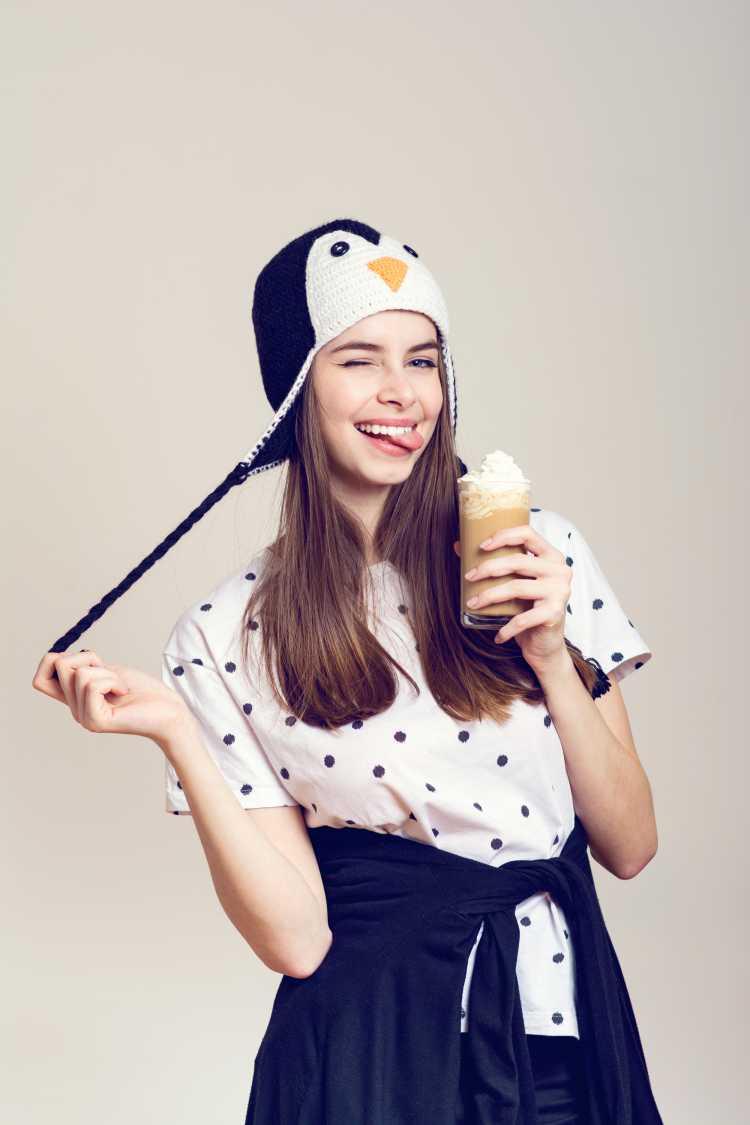 Touca ou Gorro Feminino divertido de pinguim