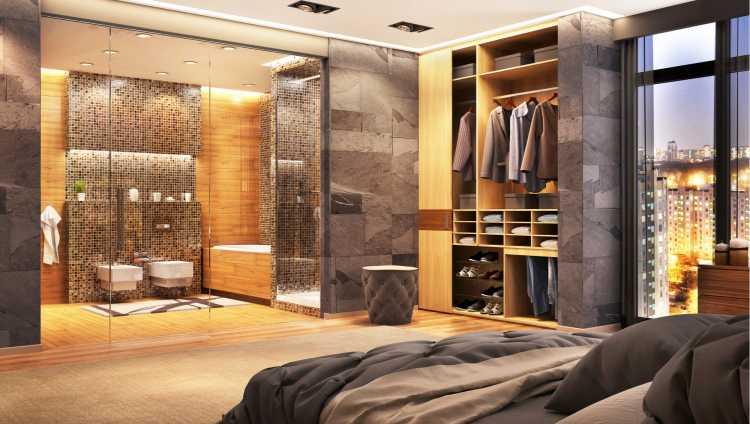 closet de princesa romântico integrado ao banheiro