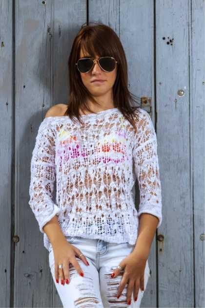 look com blusa em tricô transparente