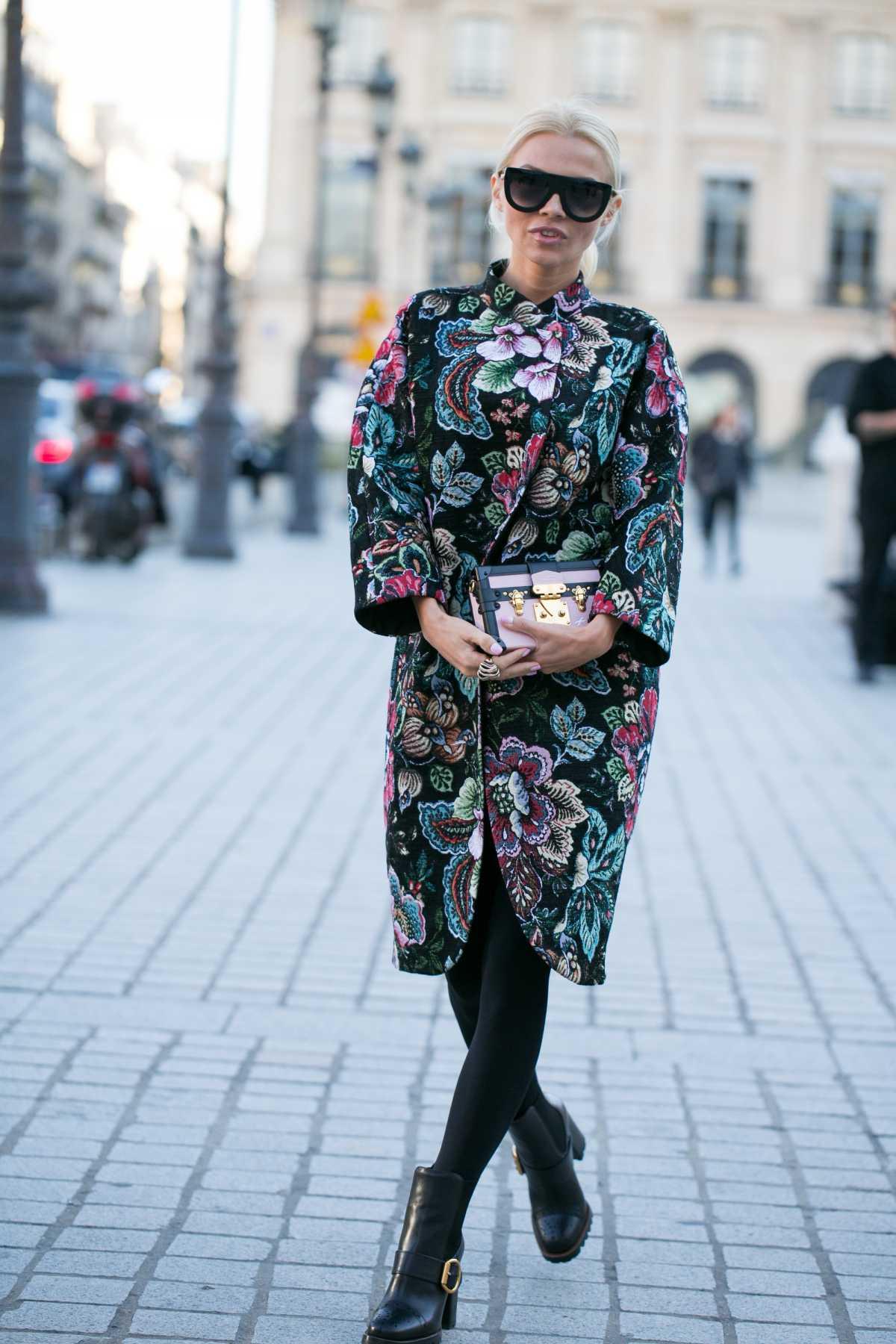 vestido casaco floral escuro