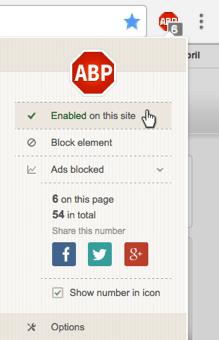 Como desativar o AdBlock Plus