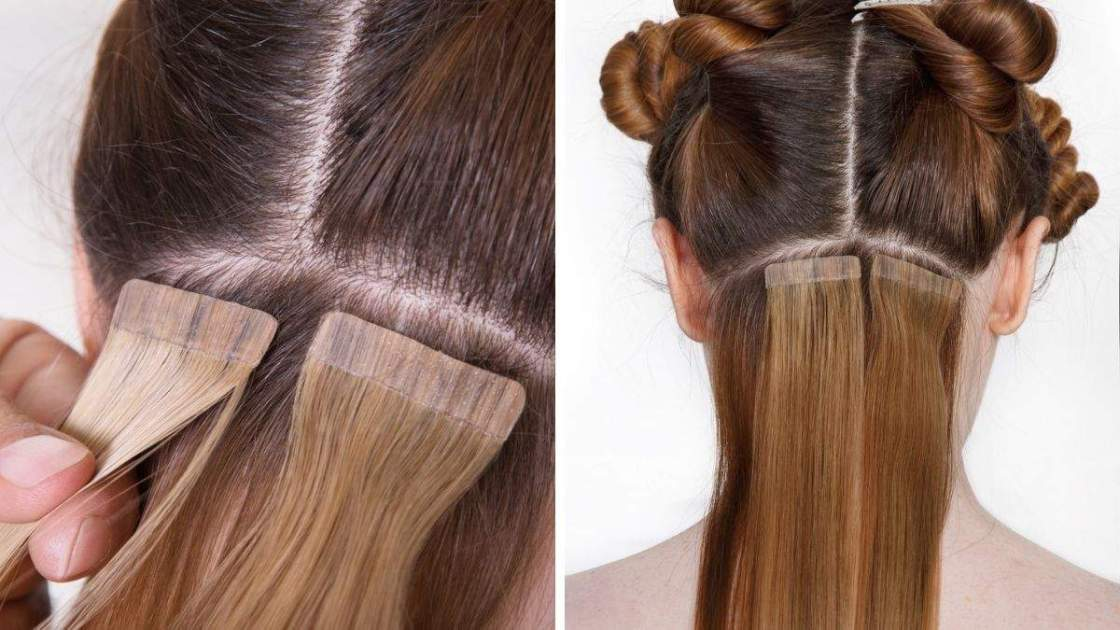 Alongamento de cabelo com fita adesiva