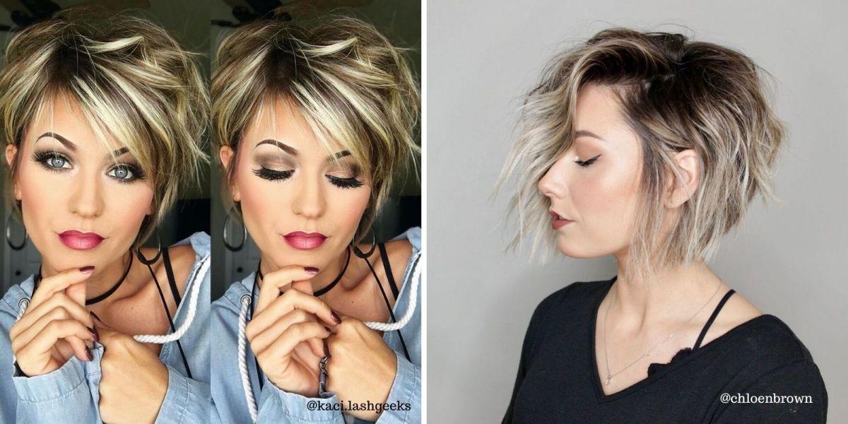 Mulheres com cabelos com luzes e cortes curtos com franjão lateral