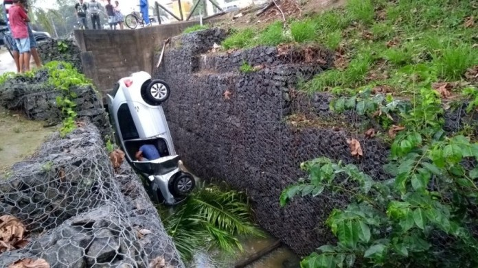Motorista perde o controle do carro ao desviar de ciclista e cai em vala na Linha Verde;Veja vídeo