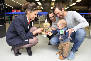 April Clements from British Airways with Scott and Coral Cranmer and their 9 month old son Woody. A teddy bear that was left behind in Buenos Aires by a family from Yorkshire whilst on holiday has finally been reunited with their 9 month old son Woody Cranmer. The teddy bear has sentimental value due to it once belonging to Scott Cranmer's grandfather and then Scott. 19 March 2016.