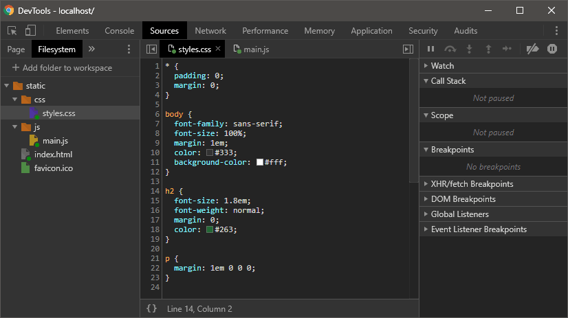 Chrome DevTools file system