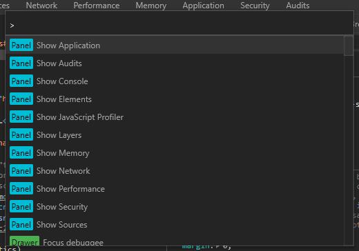 Browser DevTools Chrome command palette