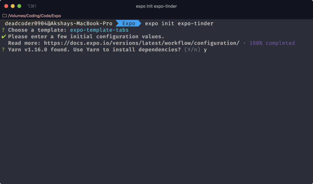 Expo Init - Install the dependencies