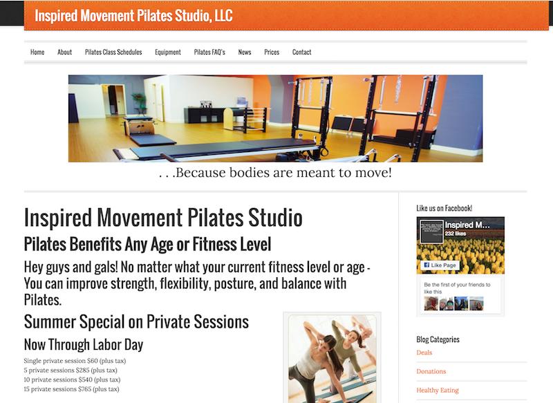 Inspired Movement Pilates Studio, LLC Website
